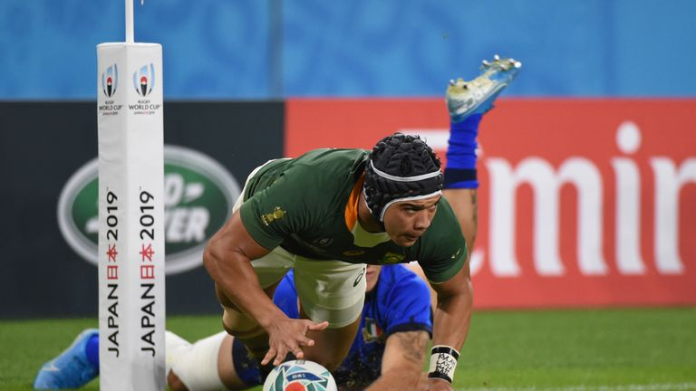 Cheslin Kolbe scored twice against Italy but limped off late on