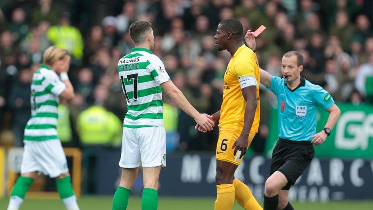 Celtic's Ryan Christie is shown the red card during the Scottish Premiership match at the Tony Macaroni Arena