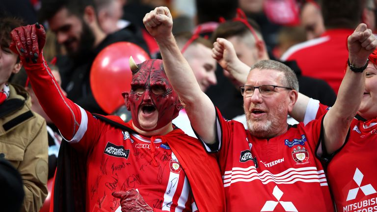 Salford fans turned out in huge numbers to support the Red Devils at Old Trafford