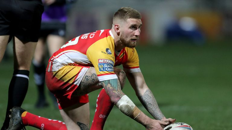 Sam Tomkins (pictured) and Michael McIlorum were both sent off for Catalans before fights broke out in the crowd