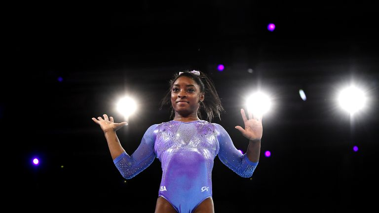 Simone Biles won a record-equalling five gold medals at the World Gymnastics Championships
