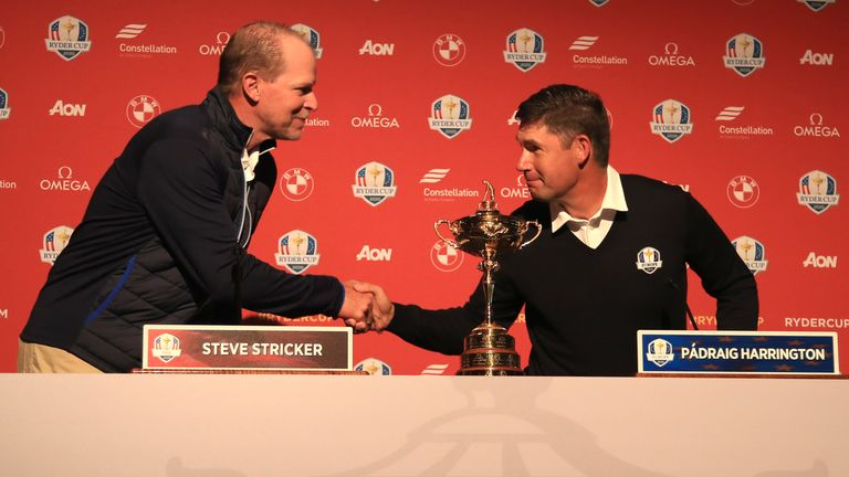 Stricker and Padraig Harrington addressed the media at Whistling Straits