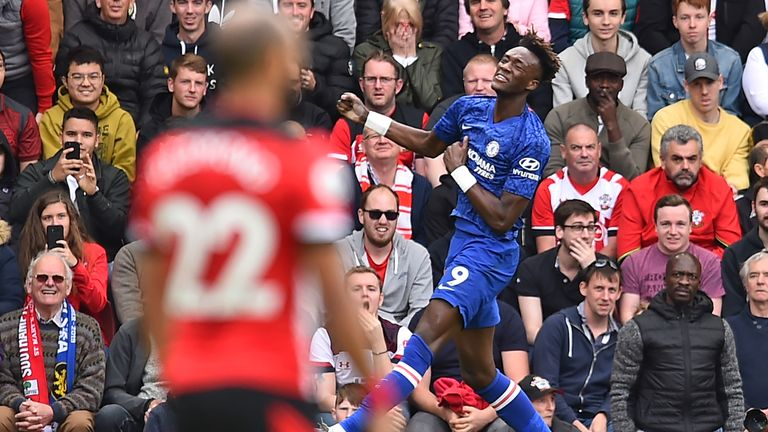 Tammy Abraham celebrates after putting Chelsea 1-0 up