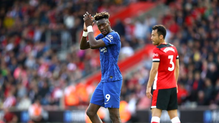 Tammy Abraham applauds the fans after Chelsea's win at Southampton