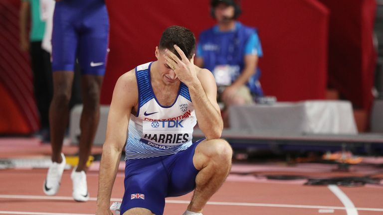 Toby Harries dropped the baton during the men's 4x400m final