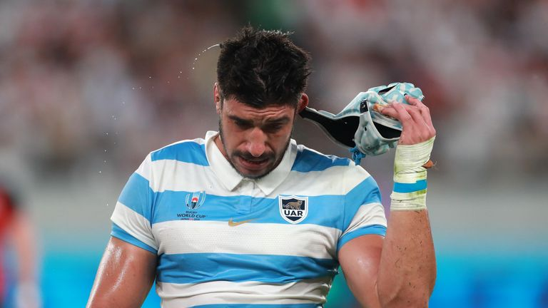 Argentina lock Tomas Lavanini was sent off for a dangerous tackle on Owen Farrell