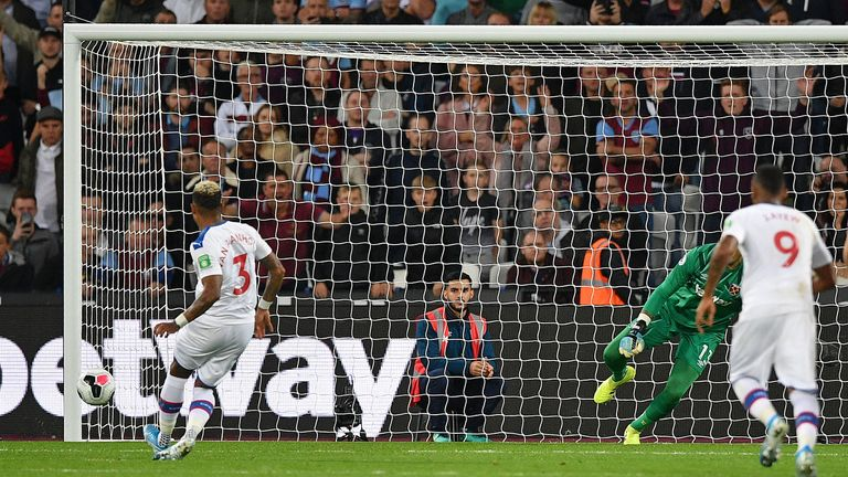 Patrick Van Aanholt scored Crystal Palace's penalty kick to level things up