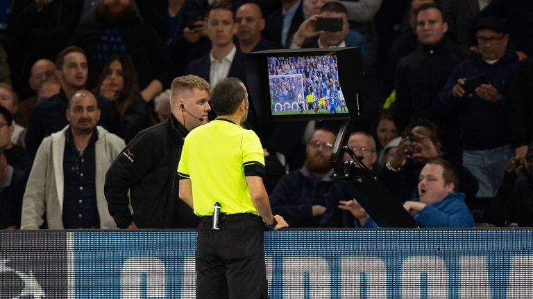 Referees have yet to use pitchside monitors in the Premier League