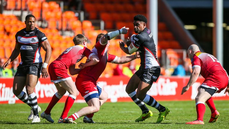 Kevin Naiqama's brother Wes in action for London Broncos