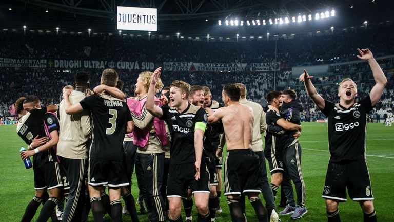 Ajax celebrate their victory over Juventus in the quarter-finals of the Champions League last term