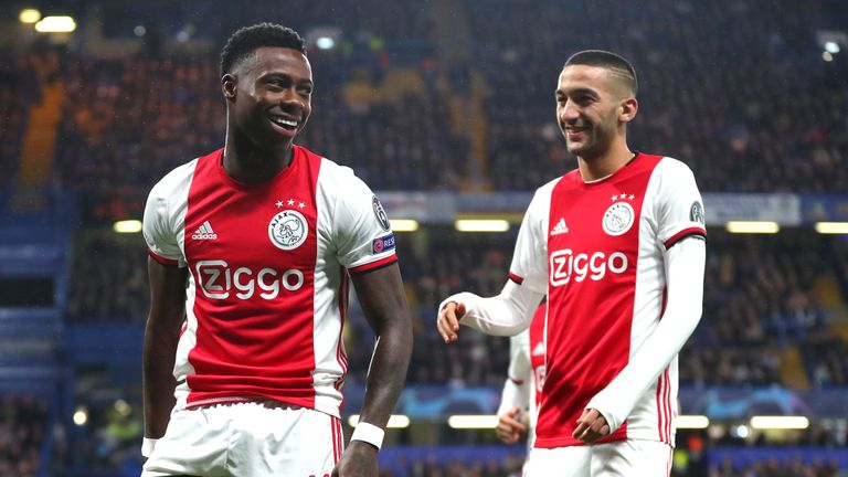 Quincy Promes and Hakim Ziyech celebrate Ajax's second goal