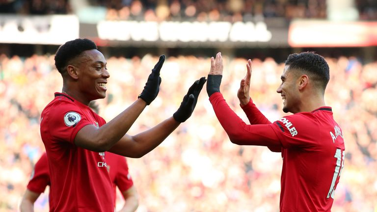 Andreas Pereira celebrates his goal vs Brighton with Manchester United team-mate Anthony Martial