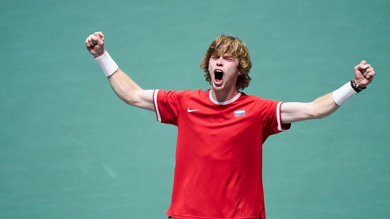 Andrey Rublev celebrates for Russia after they reached the semi-finals