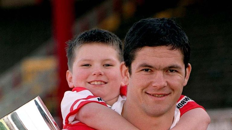 Andy and Owen Farrell  together at Wigan in 1999