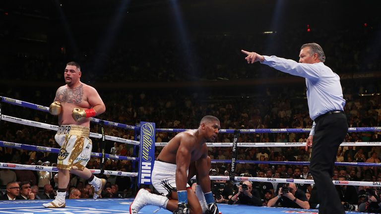 Joshua was floored Ruiz Jr four times
