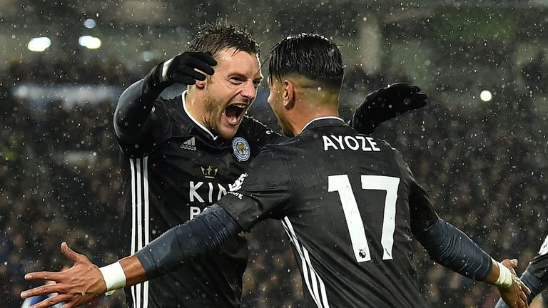 Jamie Vardy and Ayoze Perez celebrate during Leicester's win at Brighton