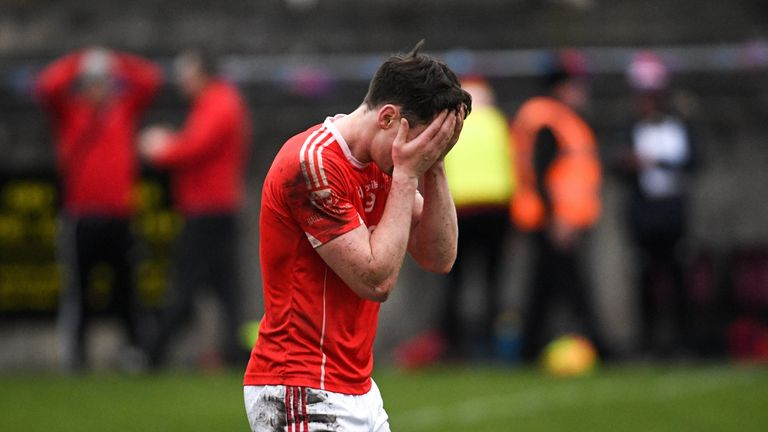 Diarmuid O'Connor of Ballintubber dejected at full-time