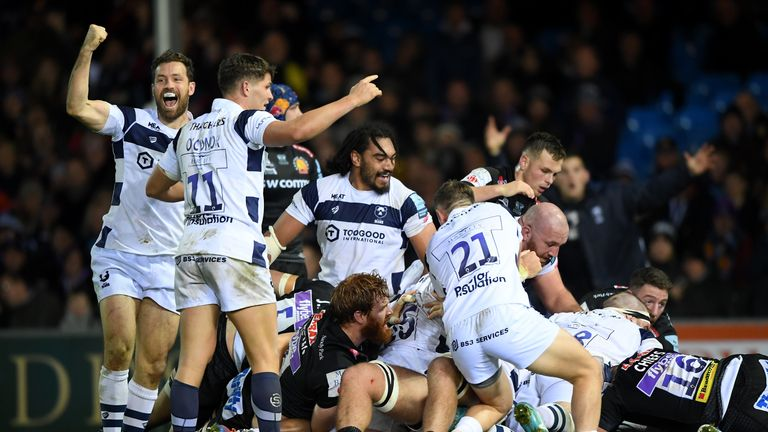 A last-minute Dan Thomas try completed a 17 point turnaround for Bristol at Sandy Park