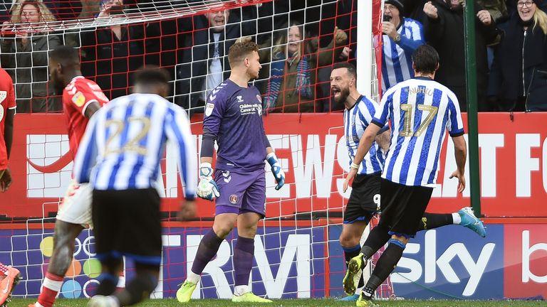 Steven Fletcher celebrates scoring Sheffield Wednesday's second goal