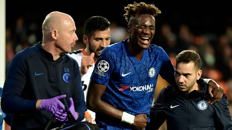 Tammy Abraham had to be helped off the pitch after he was injured against Valencia