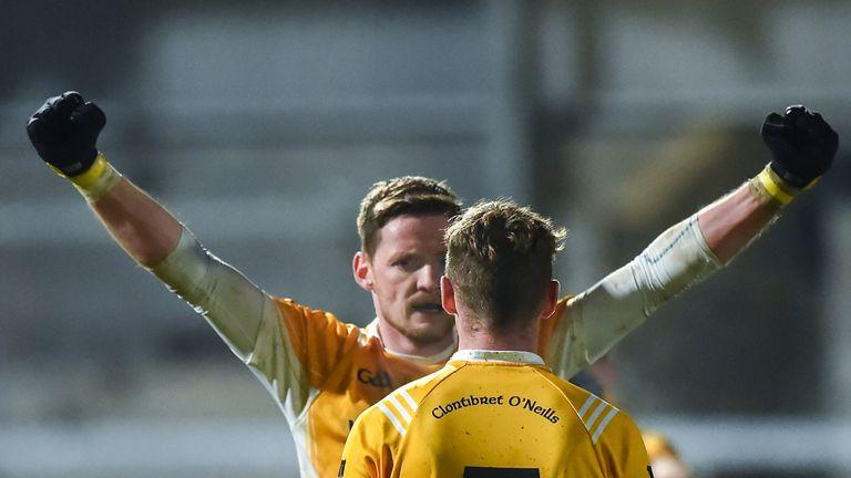 Job done! Conor McManus and Jack Gormley celebrate Clontibret's Ulster quarter-final win over Crossmaglen