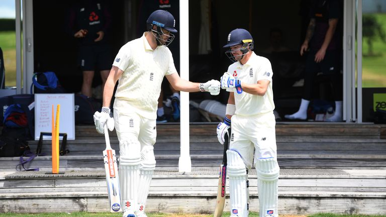 Dom Sibley (left) and Rory Burns batted together in England's warm-up match against a New Zealand XI in Whangarei