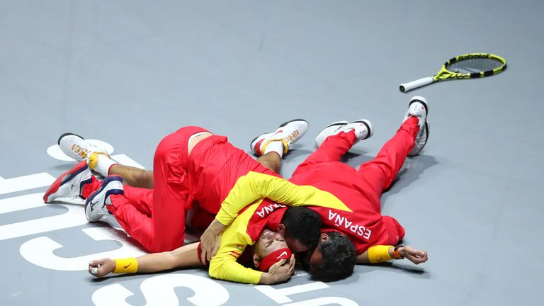 Nadal was mobbed by his team-mates after securing Spain's first Davis Cup title since 2011