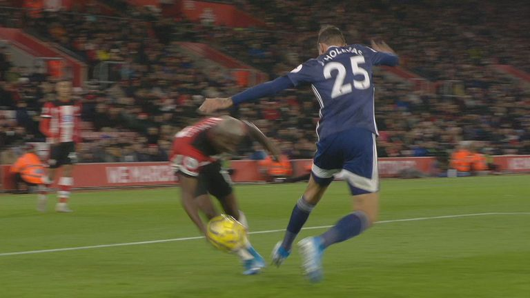The replay shows the ball appearing to touch Moussa Djenepo's hand in the build-up to Danny Ing's crucial equaliser
