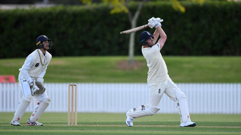 Dom Sibley hit a hundred in his first innings for England