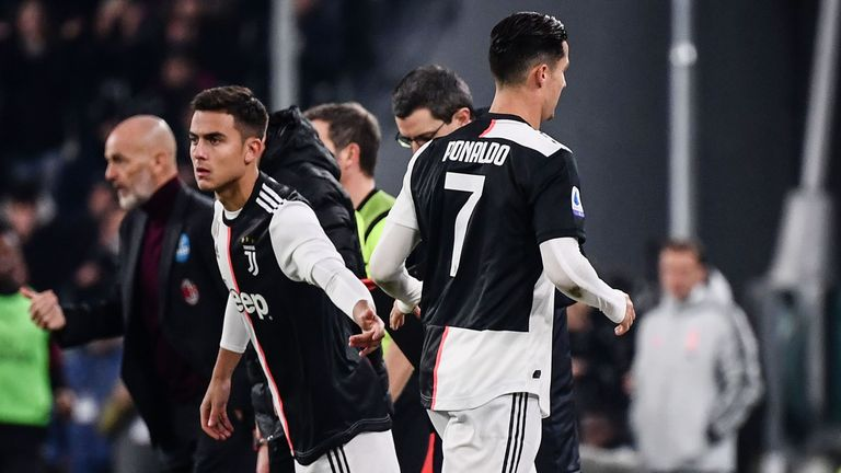 Ronaldo was replaced by Paulo Dybala in Juventus' win over AC Milan