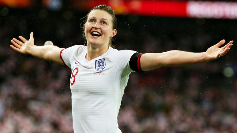 Ellen White equalised for England in front of a record crowd for a home international game