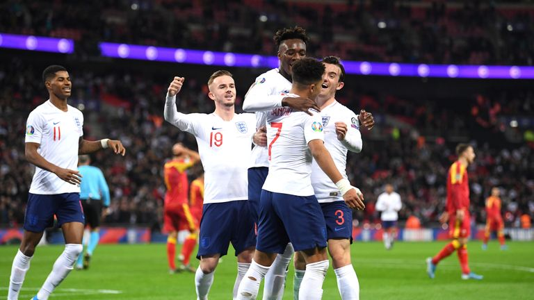 England players celebrate during the 7-0 win at Wembley
