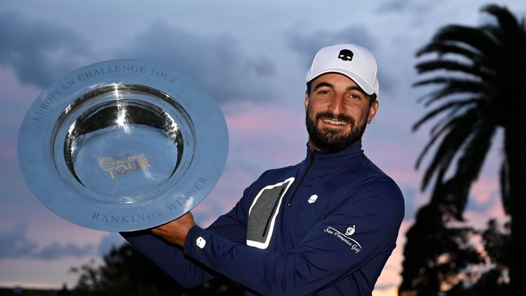 Francesco Laporta displays his trophy after winning the Challenge Tour Grand Final