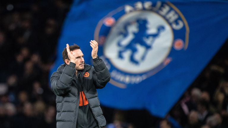 Frank Lampard applauds fans after the final whistle