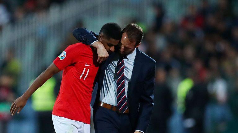 Gareth Southgate comforts Marcus Rashford during England's game against Bulgaria - © Eddie Keogh for The FA/Shutterstock