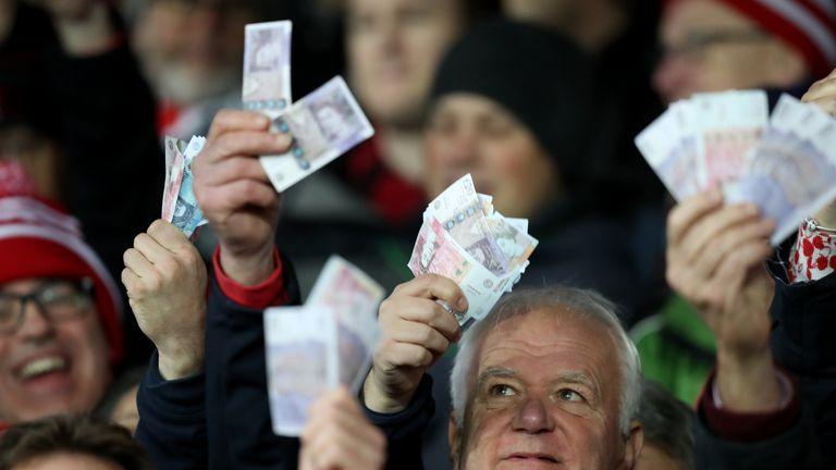 Some Gloucester fans waved fake £50 notes at Kingsholm on Saturday