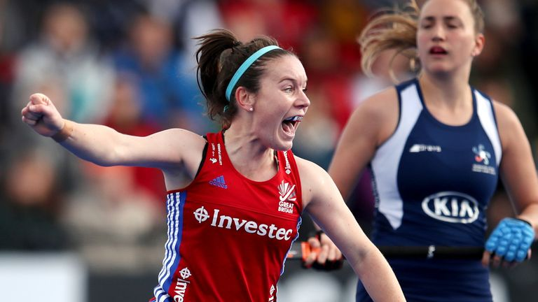 Laura Unsworth of Great Britain celebrates after scoring against Chile Women