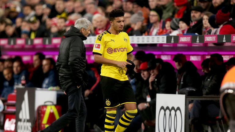Jadon Sancho was substituted in the 36th minute of Borussia Dortmund's clash with Bayern Munich
