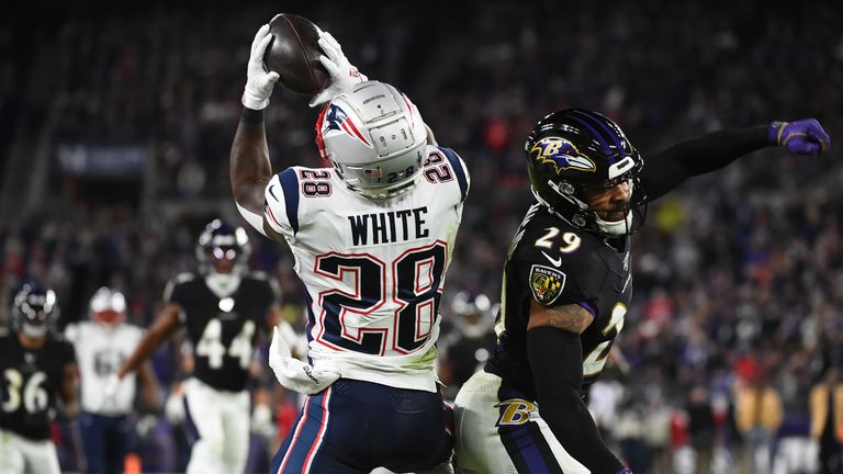 James White's touchdown was a rare bright spot for the Patriots who were playing catch-up throughout