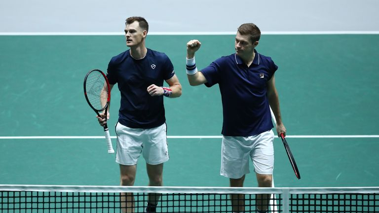 Jamie Murray [left] and Neal Skupski were back at it to help Great Britain defeat Kazakhstan in the Davis Cup