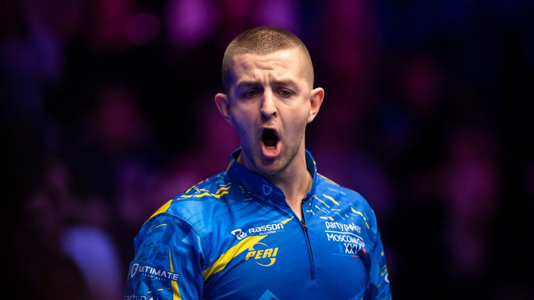 Jayson Shaw celebrates after he and Niels Feijen won a hill-hill thriller for Team Europe