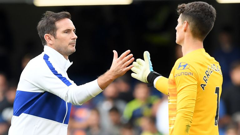 Lampard dropped Kepa (right) at the King Power on Saturday