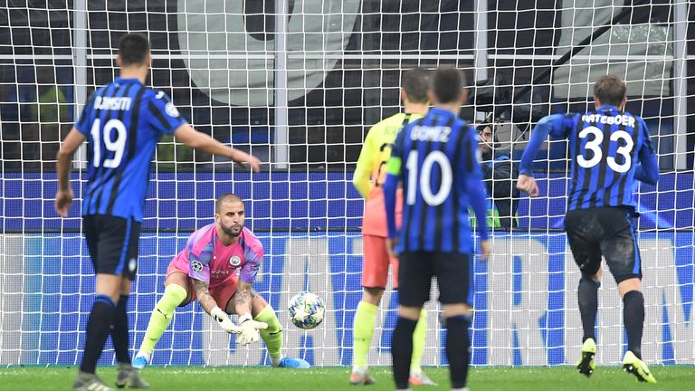 Walker saved a free-kick during his emergency spell in goal after Claudio Bravo was sent off