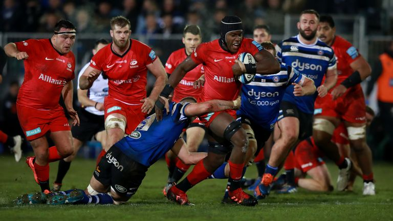 Maro Itoje carries strongly for Saracens