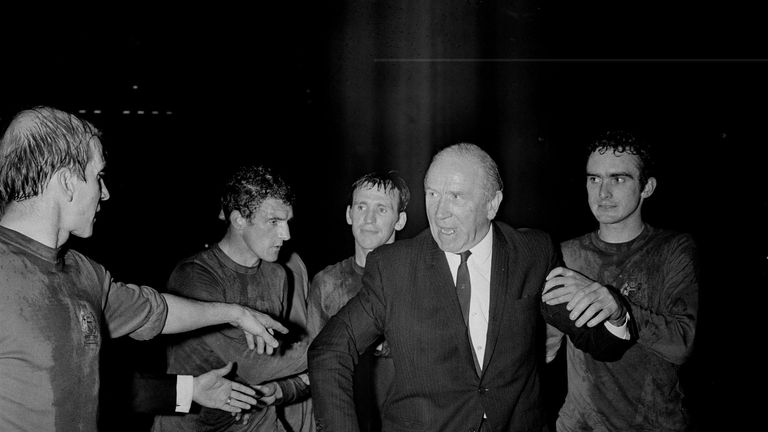 Busby with Bobby Charlton, Will Foulkes, Pat Crerand and John Aston Jr
