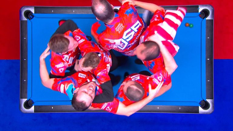 Skyler Woodward sinks the winning shot for the USA as they retained the Mosconi Cup