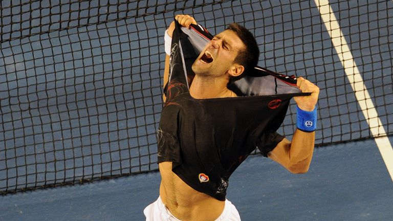 The Serb ripped off his shirt after beating Nadal in the final
