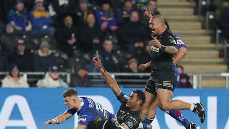 Ratu Naulago celebrates after scoring against Leeds