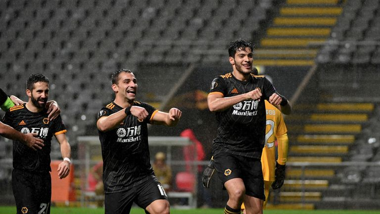 Jimenez celebrates after scoring for Wolves against Braga