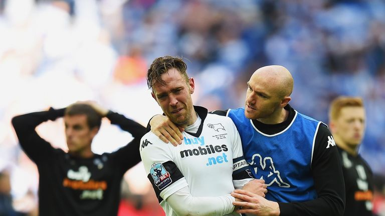 Former Derby defender Richard Keogh was inconsolable after the Rams' play-off final defeat to QPR in 2014